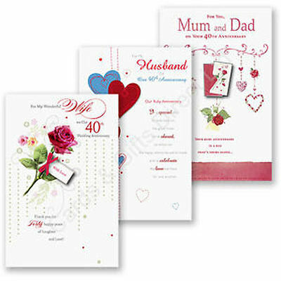 40th Ruby Wedding Anniversary Card Cards Wife Husband Mum Dad Grandparents