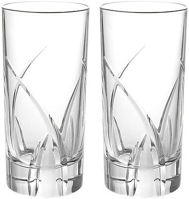 RCR CRYSTAL DA VINCI GROSSETO HIGHBALL TUMBLERS 36cl (PAIR) BRAND NEW