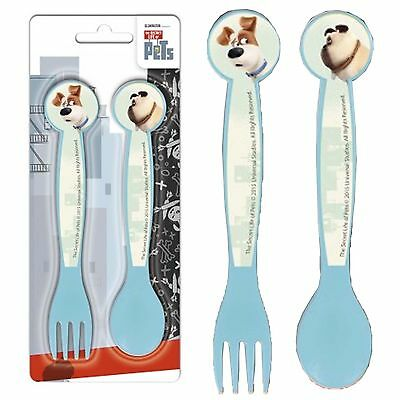 The Secret Life of Pets BLUE Plastic Picnic Lunch Dinner Spoon Fork Cutlery Set