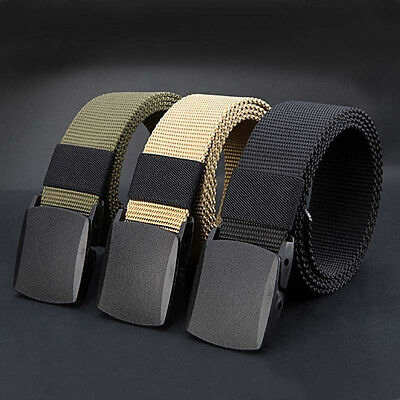 Men's Simple Outdoor Sports Military Tactical Nylon Waistband Canvas Web Belt FT