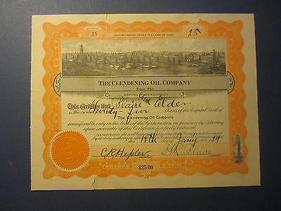 Old 1924 - CLENDENING OIL CO. - Stock Certificate - Logan OHIO
