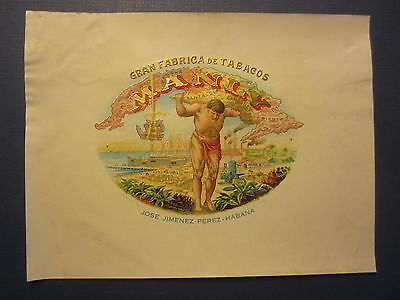 Original Old - MANLY - Inner CIGAR LABEL - Strongman Holding MAP OF CUBA
