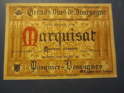 Old - Marquisat - Pasquier Desvignes - French WINE LABEL - Bourgogne / Burgundy