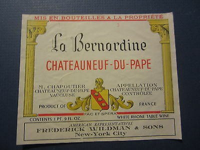 Old - Chateauneuf Du Pape - French WINE LABEL - La Bernardine - RHONE