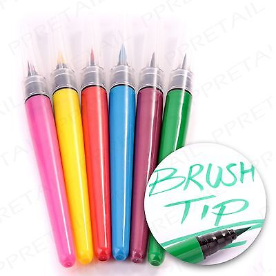 6 PACK BRUSH TIP MARKERS Assorted Colours Drawing/Painting/Colouring Fibre Pens