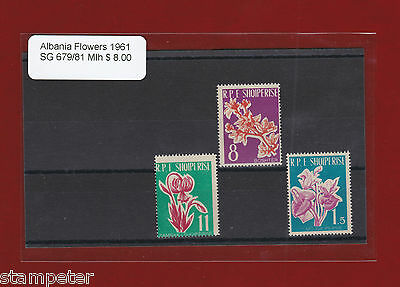 1961 Albania Flowers SG 679/81 Selection of 3 stamps MLH