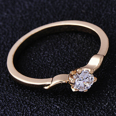 Kids Jewelry Free Shipping Rose Gold Filled Clear Crystal Girls Ring Size 5