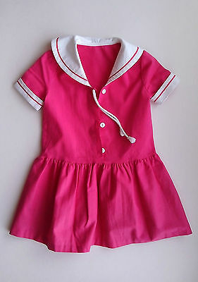 Deep Pink Short Sleeve Cotton Dress with White Sailor Collar Vintage 1980s
