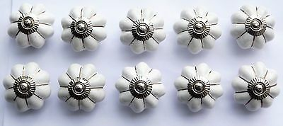 White flower with star lines (chrome) ceramic porcelain cupboard pulls knob x10