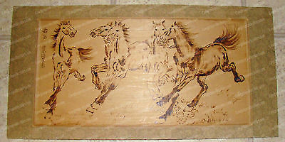 "Unique Vintage (Carved, Burned) Wild Horse's Wall Board (24"" x 12"")"