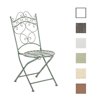 Chair INDRA Garden Folding Iron Metal Shabby Chic Vintage Bronze White Brown NEW