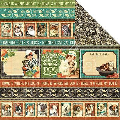 Graphic 45 Double Sided Scrapbooking Paper Raining Cats & Dogs ~ Animal House