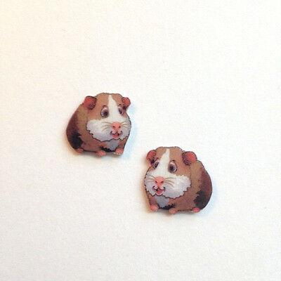 Handcrafted Plastic Tiny Guinea Pig Cavie Earrings Kids Adults Made in USA