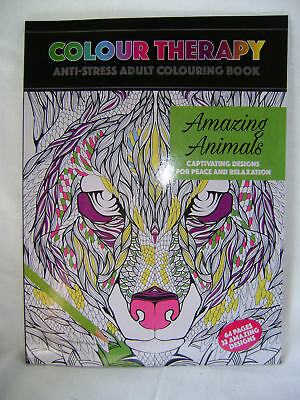 New A4 Colour Therapy Amazing Animals Adult Colouring Book 64 Page Anti Stress