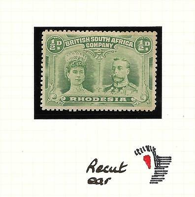 RHODESIA, 1910 DOUBLE HEAD, 1/2d SG 119,  M/MINT, RECUT EAR