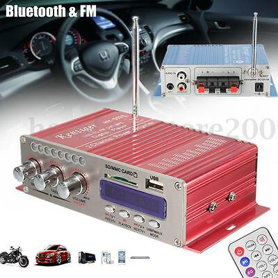 12V Bluetooth HiFi USB Stereo Amplificateur Booster FM Radio MP3 Pr Moto Voiture