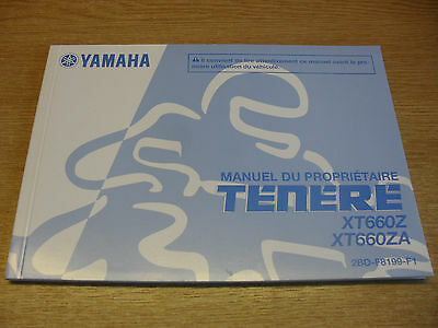 Genuine Yamaha Motorcycles Tenere Xt660Z Xt660Za Owners Manual In French