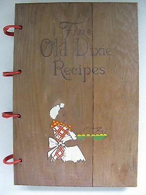Vintage1939 Fine Old Dixie 322 Recipes Black Americana Cook Book W/ Wood Cover
