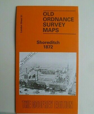 Old Ordnance Survey Maps Shoreditch  near Bethnal Green London 1872 Godfrey Edit