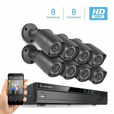 Amcrest Eco-Series 1080P HDCVI 8CH Video Security System 8 x HD Bullet Cameras
