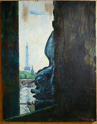 FREDDY WITTOP Designer w/ ERTE, LISTED RARE PARIS OIL LANDSCAPE MODERNISM MODERN