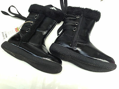 BNWT Little Girls Sz 8 Rivers Doghouse Brand Black Patent Zip Side Boots RRP $50