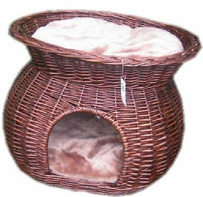 Cat Dog Basket 2 Tier With Cushion Honey Wicker