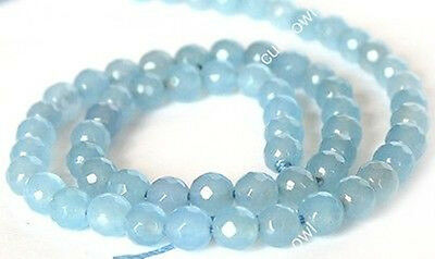 """6mm Sky Blue Faceted Jade Gems Loose Beads Strand 15""""AAA"""
