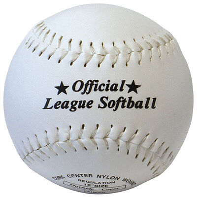 "Softball Synthetic Leather Official League Ball - Size 12"" Cork Centre rrp£10"