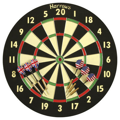 Harrows Bristow Family Steel Tip Dartboard Dart Games Set With Brass Dart rrp£19