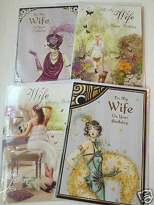 LESS 40%!! WIFE BIRTHDAY CARDS X 24, 15p, 4 DESIGNS X 6, WRAPPED - FOILED (B91
