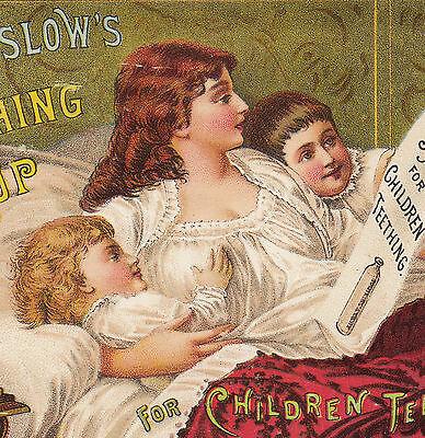 Mrs Winslow Teething Baby Tooth old 1886 Calendar bottle Advertising Trade Card