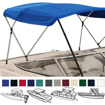 "Bimini Top Boat Cover Blue 3 Bow 72""l 46""h 67""-72""w - W/ Boot & Rear Poles"