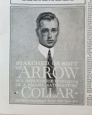 1919 Cluett Peabody Arrow Mens Collars Starched or Soft Fashion Clothing Ad