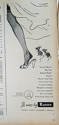 1948 Vintage KAYSER Womens Stockings Hosiery LEGS Mouse Ad