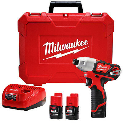 Milwaukee 2462-22 M12 12-Volt 1/4-Inch Hex Impact Driver w/ Batteries