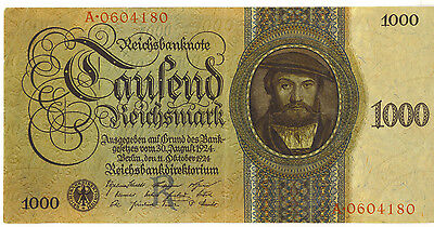 Germany 1000 Mark Reichsmark October 11 1924 P-179 Good VF+ SCARCE Note