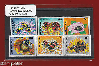 1980 Hungary Beetles SG 3295/00 Set of 6 MUH