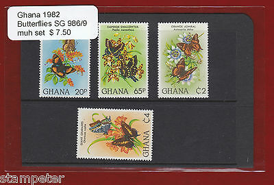 1982 Ghana Butterflies SG 986/9 Set of 4 MUH