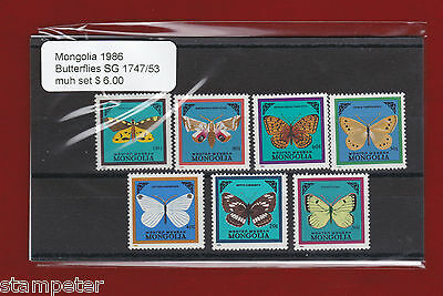 1986 Mongolia Butterflies SG 1747/53 Set of 7 MUH