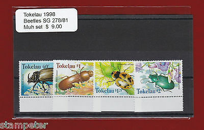 1998 Tokelau Beetles SG 278/81 Set of 4 MUH