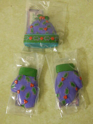 Dept 56 Winter Warm Ups 2 Mittens & Hat Christmas Ornaments Holly Berries New