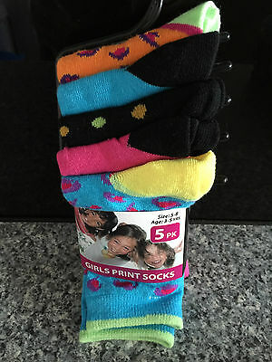 BNWT Girls Pack of 5 Pretty Colours Crew Style Socks Size 5-8 Age 3-5 Years