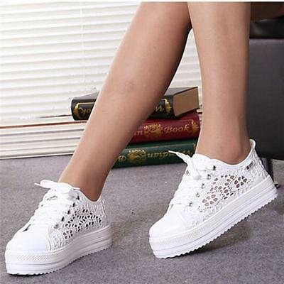 New Women Girls Lace Up Round Toe Hollow Platform Wedge Shoes Low Cut Sneaker LG