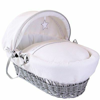Clair De Lune Padded Grey Wicker Moses Basket Silver Lining White