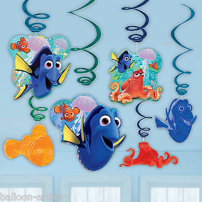 6 Disney Pixar's Finding Dory Children's Party Hanging Cutout Swirl Decorations