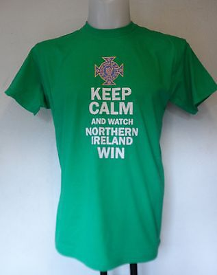 """""""Keep Calm And Watch Northern Ireland Win"""" Green T- Shirt Size Men's Large New"""