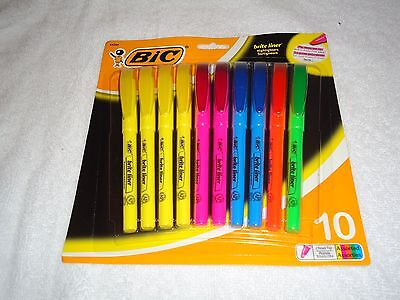 New Bic Brite Liner Highlighters Chisel Tip 10 Assorted Colors