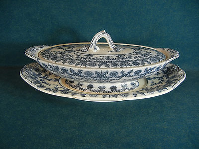 Copeland Spode Delhi Blue and White Large Covered Bowl with Lid and Underplate