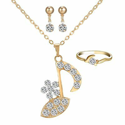 Music Note Jewelry Set  Flower 18K Yellow Gold gp Crystal Necklace Earrings Ring